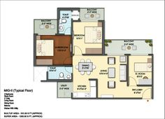Floor Plan- 1200 sqft: 2 Bhk+ 2 bath+ 2 Balconies.