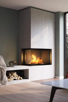 NEUHEIT VISIO 2 L Kamineinsatz Premium class is not only evident in the VISIO 2 L with the beautiful fire. This claim is also evident in the precise and stable processing and the unique firebox Home Fireplace, Fireplace Design, Corner Fireplaces, Fireplace Glass, Living Room Designs, Living Room Decor, Interior Architecture, Interior Design, Fireplace Inserts