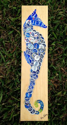 Beer/Bottle Cap Blue Seahorse on wood 5 1/2 x 24 by KaysCapArt, $75.00 - too cute!