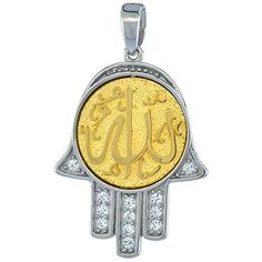 Sterling Silver ALLAH Goldplated CZ Islamic Pendant 1316 inch long ** Read more  at the image link.