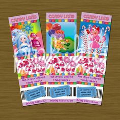 CandyLand Ticket Birthday Invitations 2x6 by PinkLilyInvitations. $11.50, via Etsy.