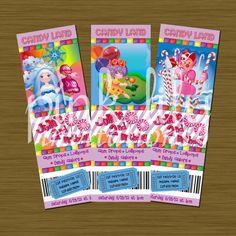 CandyLand Ticket Birthday Invitations 2x6 by PinkLilyInvitations. $11.50, via Etsy.