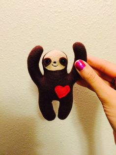 sloth, plush, stuffed animal, cute, soft, baby, toy, sewn, sewing, etsy, gift, present, pocket, child friendly, gift, good luck