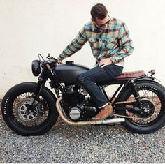 Men's fashion #plaid #boots #denim #motorcycle