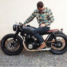 Men's fashion #plaid #boots #denim #motorcycle