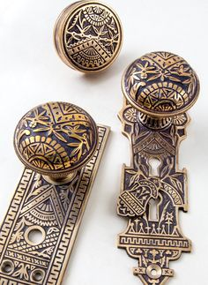 This popular Eastlake pattern was first produced in 1884 by Branford Lock Works. Recurring design components include an open fan, the rising sun and bamboo. Noteworthy detailing on the reverse side of the doorknobs and on each hinge are revealed when the door is closed.