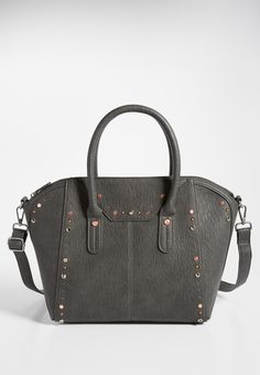 crossbody satchel with mixed metal studs