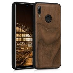 Amazon.com: kwmobile Wooden Protective Cover for Huawei P Smart (2019) - Hard case with TPU Bumper Walnut in Dark Brown: Gateway