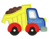 Cute Full Dump Truck Applique Machine Embroidery Design boy construction vehicle car INSTANT DOWNLOAD