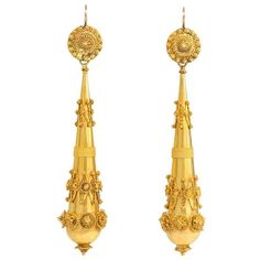 Early 19th Century Gold Earrings | From a unique collection of vintage dangle earrings at https://www.1stdibs.com/jewelry/earrings/dangle-earrings/