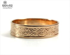 Wedding Band in 14k Rose Gold , Art Deco wedding band, men's band, women's wedding ring, solid gold band,  antique scroll pattern, gold band on Etsy, $563.00