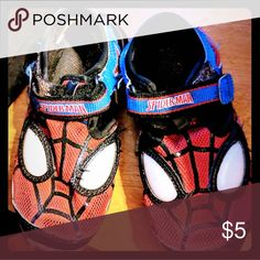 Spiderman shoes Eyes light up! Used but still fun and lights still work! Velcro closure. Stride Rite Shoes Sandals & Flip Flops