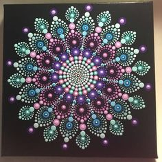 Hand Painted Mandala on Canvas Meditation Mandala Dot Art Dot Art Painting, Pebble Painting, Painting Patterns, Stone Painting, Mandala Pattern, Mandala Design, Pattern Art, Dot Patterns, Mandalas Painting