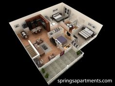 3 bedroom, 2 bath 1430 sf at Springs at Creekside. This 3 bedroom Grand Overlook apartment comes with 2 large walk-in closets, a spacious living room and patio.