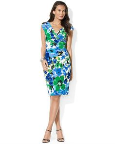 Lauren Ralph Lauren Cap-Sleeve Floral-Print Dress