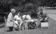 The Royal Family 1941 Queen Elizabeth, Elizabeth, Margaret & King George VI Windsor Castle 1941 from the film Royal Road Princess Elizabeth, Princess Margaret, Queen Elizabeth Ii, Margaret Rose, Hm The Queen, Save The Queen, English Royal Family, Elisabeth Ii, Duchess Of York