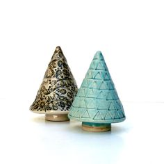 For the Christmas table or mantle. Ceramic Tree Ornament Turquoise Tree by BlueMagpieDesign on Etsy, $28.75