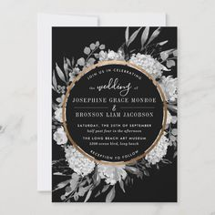 Modern Black and White Watercolor Floral Frame Invitation | Zazzle.com Black And Gold Invitations, Gold Wedding Invitations, Watercolor Wedding Invitations, Wedding Invitation Templates, Custom Invitations, October Wedding Colors, Wedding Supplies, Beach Themes, Paper Design