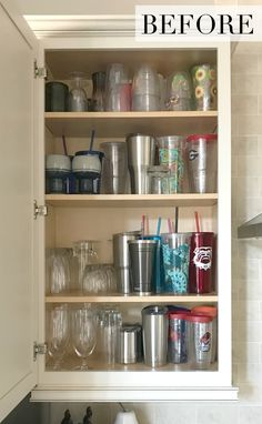 Organization Ideas for a Kitchen Cabinet Overhaul Tackling the most daunting part of a kitchen is likely all that has accumulated behind the cabinet doors. Check out this mess to success with these organization ideas for a kitchen cabinet overhaul. Kitchen Cupboard Organization, Medicine Cabinet Organization, Diy Kitchen Storage, Storage Cabinets, Cupboard Organizers, Dishes Organization, Medicine Storage, Shelf Organizer, Organize Medicine Cabinets