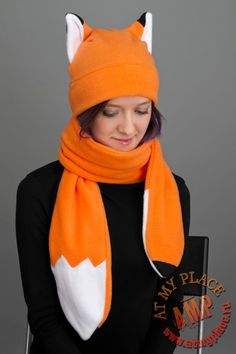 "Фото Рыжая шапка с ушками ""Лиса"""