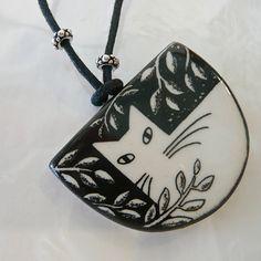 White Cat with Leaves ceramic pendant. - The Magical Animal - Virginia Miska, $30.00