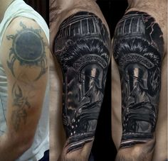 Tatarinov pasha cover up tattoos броня тату, татуировка рука e . Old Tattoos, Badass Tattoos, Black Tattoos, Body Art Tattoos, Sleeve Tattoos, Black Cover Up, Black Tattoo Cover Up, Cover Tattoo, Tennessee Tattoo