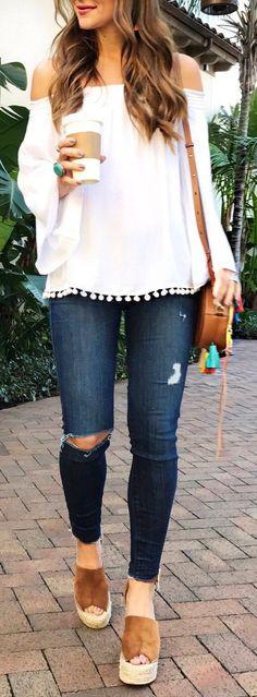 #summer #fashion / off the shoulder + denim