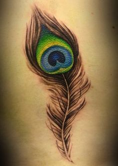 Peacock Feather on Side - 55+ Peacock Tattoo Designs  <3 !