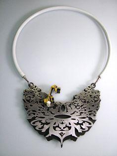 Michael Dale Bernard Excavator necklace, stainless steel, silver, vinyl tubing, powder coat,  2009