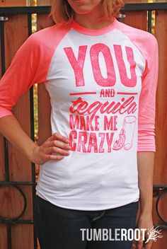 """Adorable country music inspired neon pink 3/4 sleeve raglan shirt - """"you and tequila drive me crazy"""". Natalie is 5'10 and wearing a size extra small."""