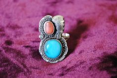 SALE Vintage silver turquoise coral RING navajo feather braided rope native american tribal ethnic gypsy boho