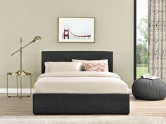 Tesco direct: Happy Beds Berlin Grey Check Fabric Ottoman Storage Bed Memory Foam Mattress 5ft King Size