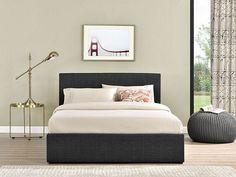 Tesco direct: Happy Beds Berlin Grey Check Fabric Ottoman Storage Bed Memory Foam Mattress 5ft King Size