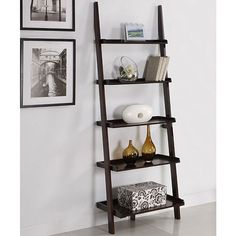 Walnut Five-tier Leaning Ladder Book Shelf/ for main livingroom White Ladder Shelf, Leaning Ladder Shelf, Ladder Bookshelf, Bookshelves, Rustic Bookcase, Home Office Furniture, Living Room Furniture, Furniture Storage, Furniture Outlet