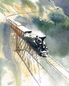 "1,511 Likes, 33 Comments - Rafal Rudko (@rafalrudko) on Instagram: """"Train"" Watercolor 12x9"" Just train on the bridge. Good night ;-) #watercolour #watercolor…"""