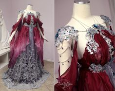 ~Elegant Armor Gown~ We created this fantasy bridal gown for our client Brianna. We used a burgundy/maroon ombre silk that parts in the front to reveal silver 3D lace. The underlaying fabric is a blue/purple taffeta. Metal filigree decorates the top of the dress and under-bust. We created matching filigree shoulder caps with swags of chains that drape over the sides of the arm and back. We added gems in teal and green to the filigree and 3D lace. I really feel like the silver lace at the…