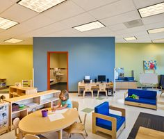 modern childcare facility for 215 students + staff. early childhood development design program. vibrant design   sustainable materials   healthy interiors.