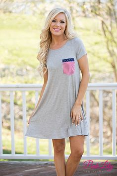 This super comfortable t-shirt dress is a perfect way to show off your American pride and stay cool in the summer heat! We adore the soft fabric and the adorable pocket!