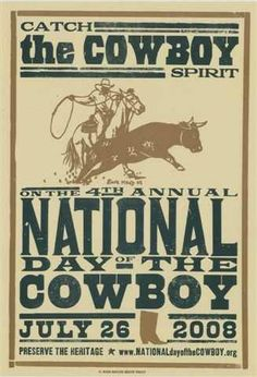 2008 National Day of the Cowboy Hatch Show Print poster