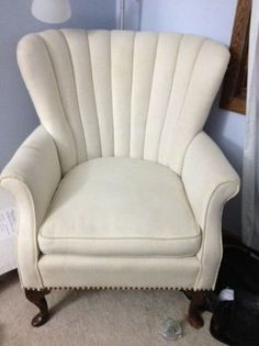 beautiful antique channel back upholstered chair queen anne legs channel tufted furniture