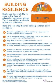 Top tips for parents on building resilience in children. Resilience is being able to 'bounce back' from difficult times, setbacks and challenges.
