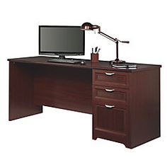 Realspace Magellan Collection L Shaped Desk 30 H X 58 34 W X 18 34 D Classic Cherry By Office