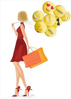 Birthday Smileys Card - send the happiest wishes for a birthday with this art & fashion illustration card featuring smiley faces and emojis.