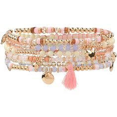 Accessorize Pretty Beaded Tassel Bracelet Pack (48 RON) ❤ liked on Polyvore featuring jewelry, bracelets, gold bangles, gold coin charm, gold jewelry, yellow gold charms and coin jewelry