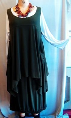 Coco and Juan Plus Size Top Lagenlook Layering Tunic Top Olive Green Traveler  Knit Size 2 Fits 3X,4X  Bust  to 60 inches