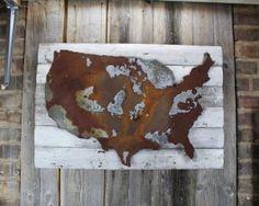 USA on woodback #usa #america #rusticmap #map #state #metalshape #decor