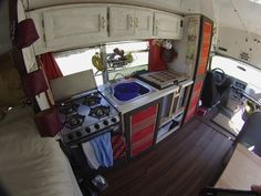 Note: this is a short bus but it has 4 out of 5 of my requirements: full kitchen, table for food and work, bed and bath.  It is missing a couch, but 4 out of 5 for a short bus is pretty darn good.  1995 Collins Diesel Bus Conversion By Mark & Karin (short bus)