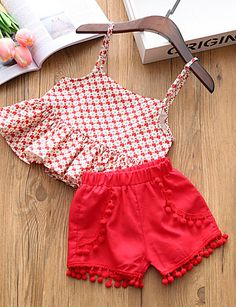 Buy Trendy Red Top And Short Set online @ Frocks For Girls, Kids Frocks, Dresses Kids Girl, Little Girl Outfits, Kids Outfits Girls, Kids Girls, Girls Frock Design, Baby Dress Design, Baby Girl Dress Patterns