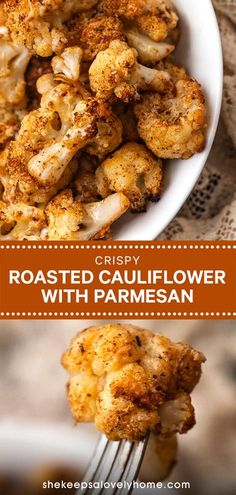 Crispy Roasted Cauliflower with Cheddar & Parmesan