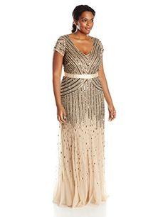 Adrianna Papell Women's Plus-Size Long Cap Sleeve Dress